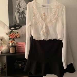 bebe Tops - See through white long sleeves blouse
